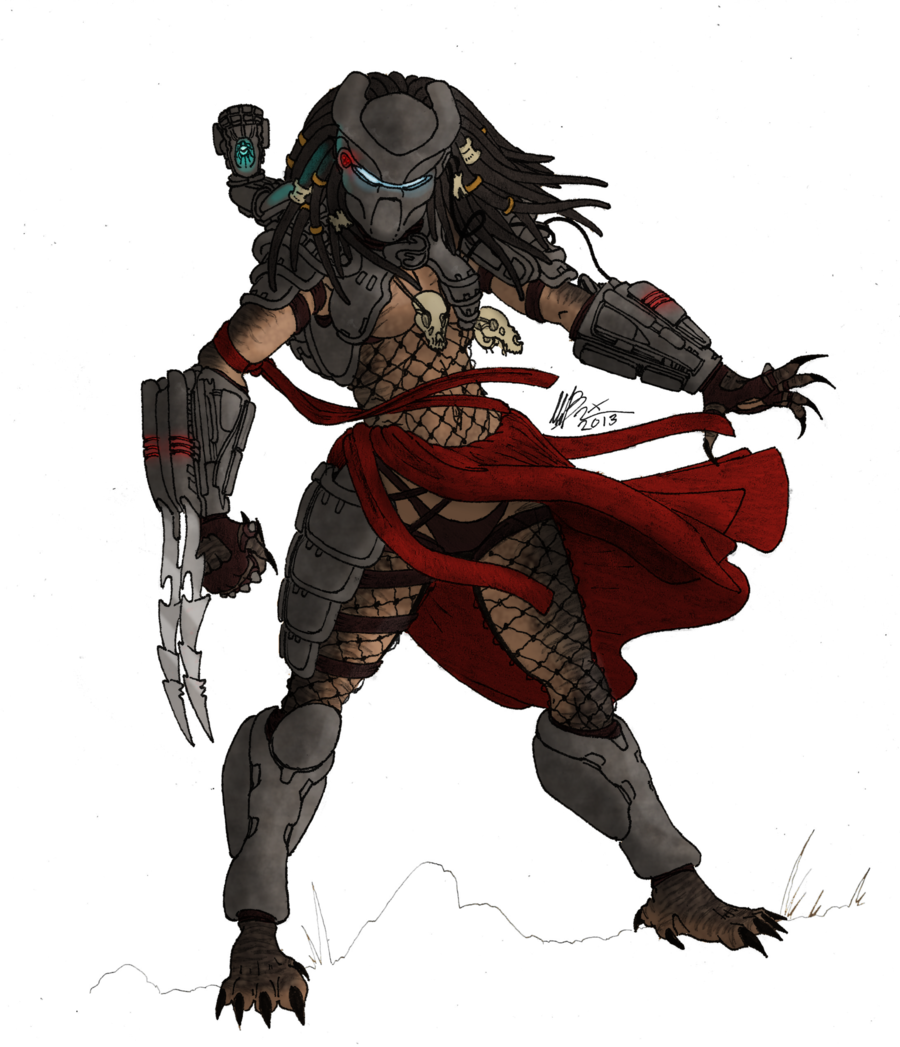 Drawn warrior yautja By female by color Yautja