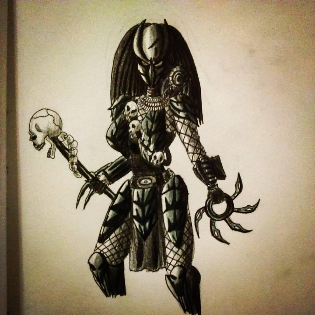 Drawn warrior yautja The Predator Female Predator alien
