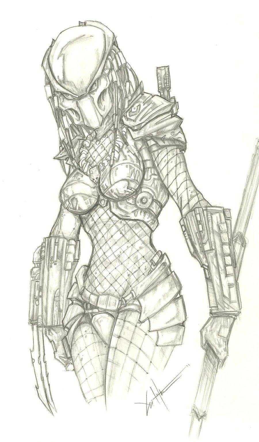 Drawn warrior yautja On Alien Yautja DeviantArt Aliens