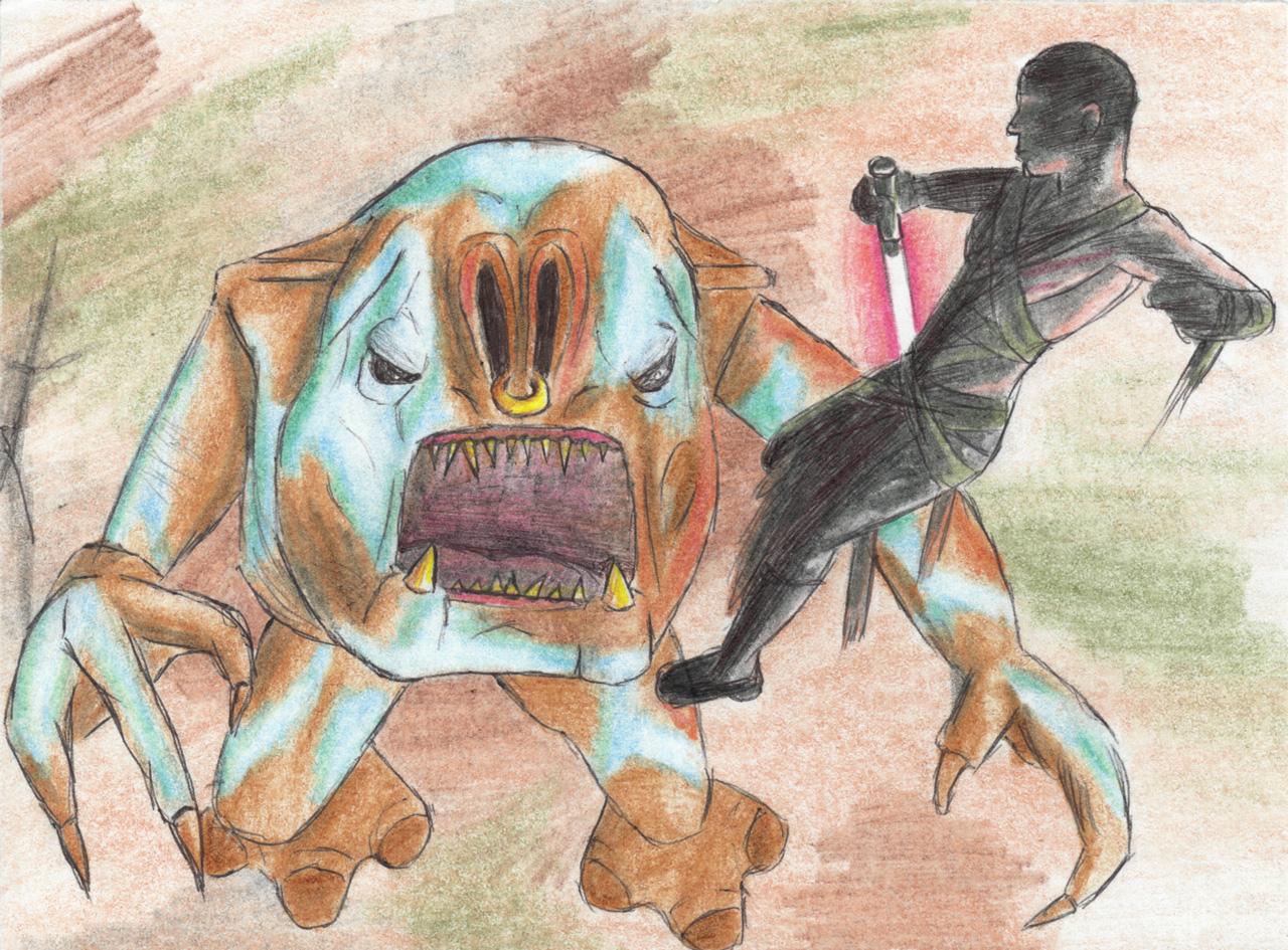 Drawn wars courage Star Art 2014 Bantha rancor