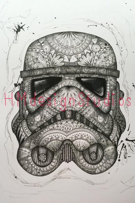 Drawn star wars head By Stormtrooper Helmet Helmet Stormtrooper