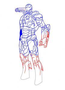 Drawn wars iron man 2 war machine Step war  Machine how