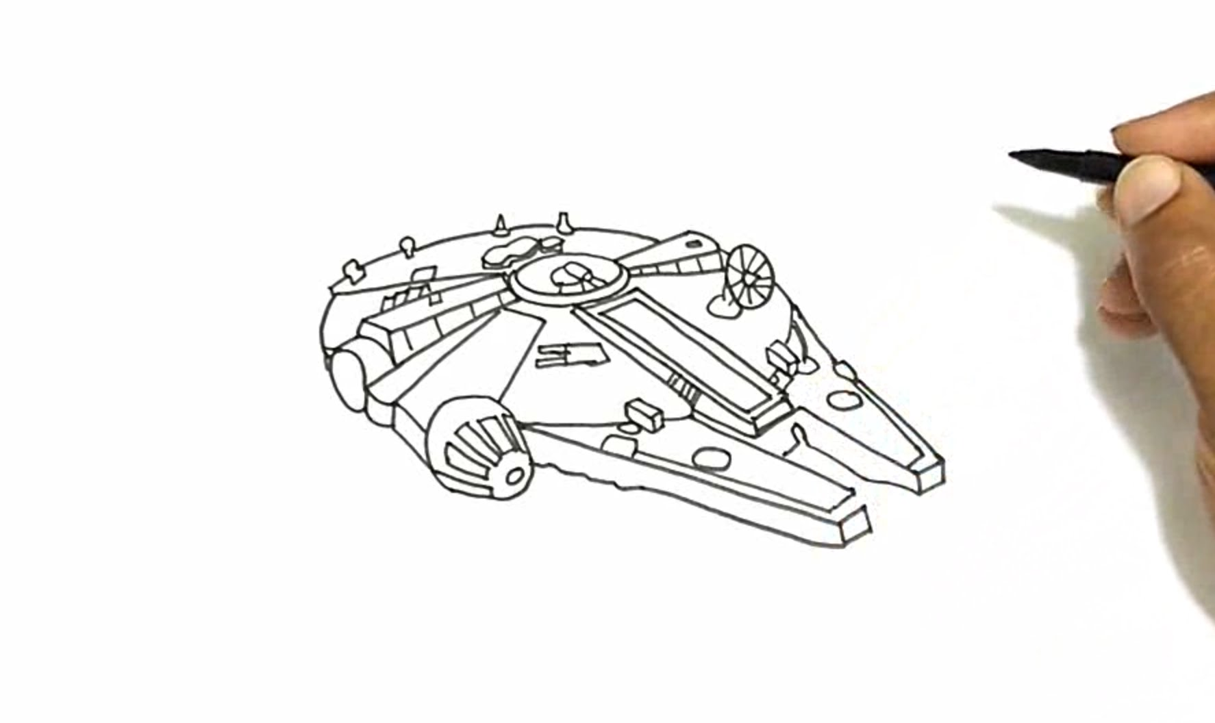Drawn wars simple Millennium Falcon to from Falcon