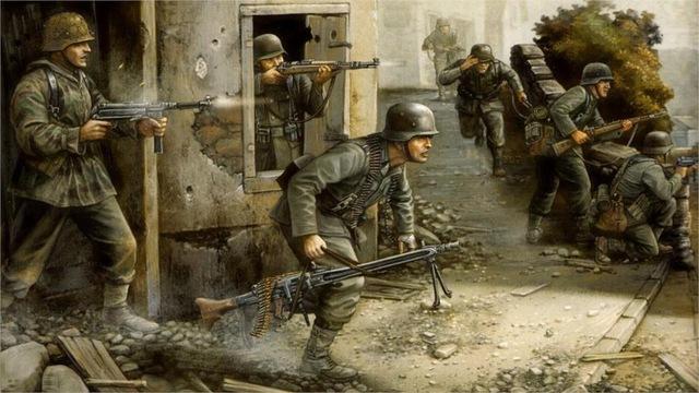 Drawn wars ww2 soldier Art WW2 war Art running