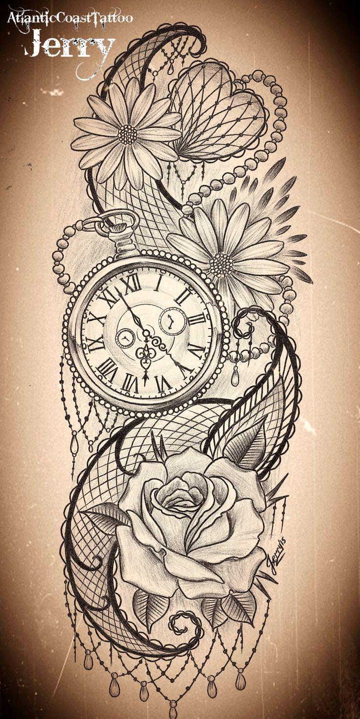 Drawn watch arm Rose idea ideas tattoo design
