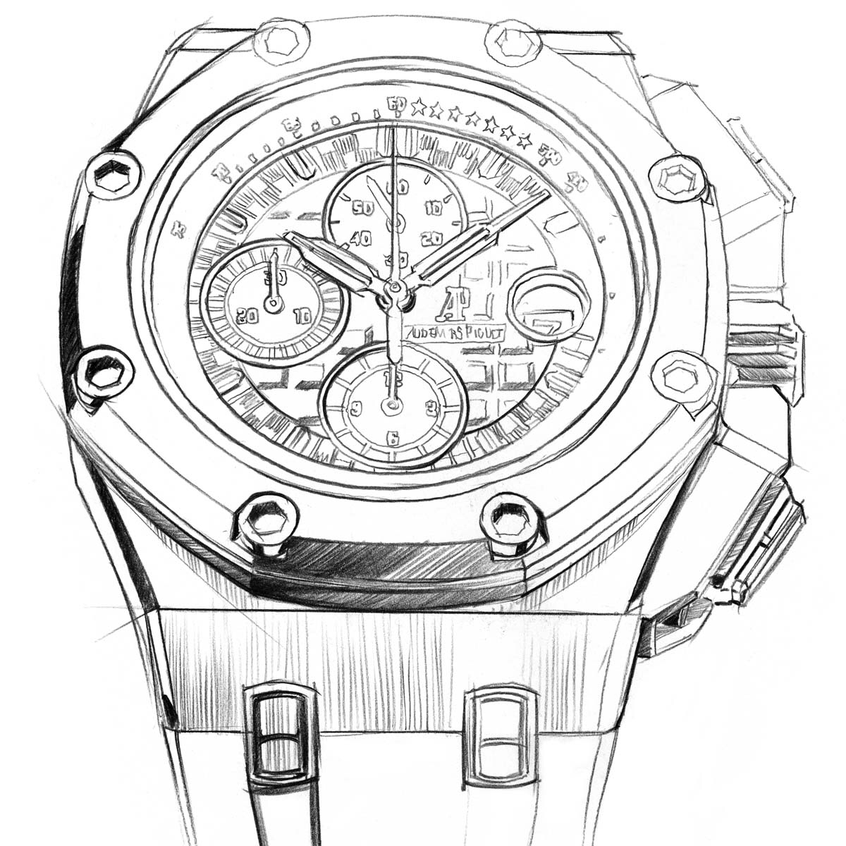 Drawn watch chronometer Offshore Oak Royal parts limited