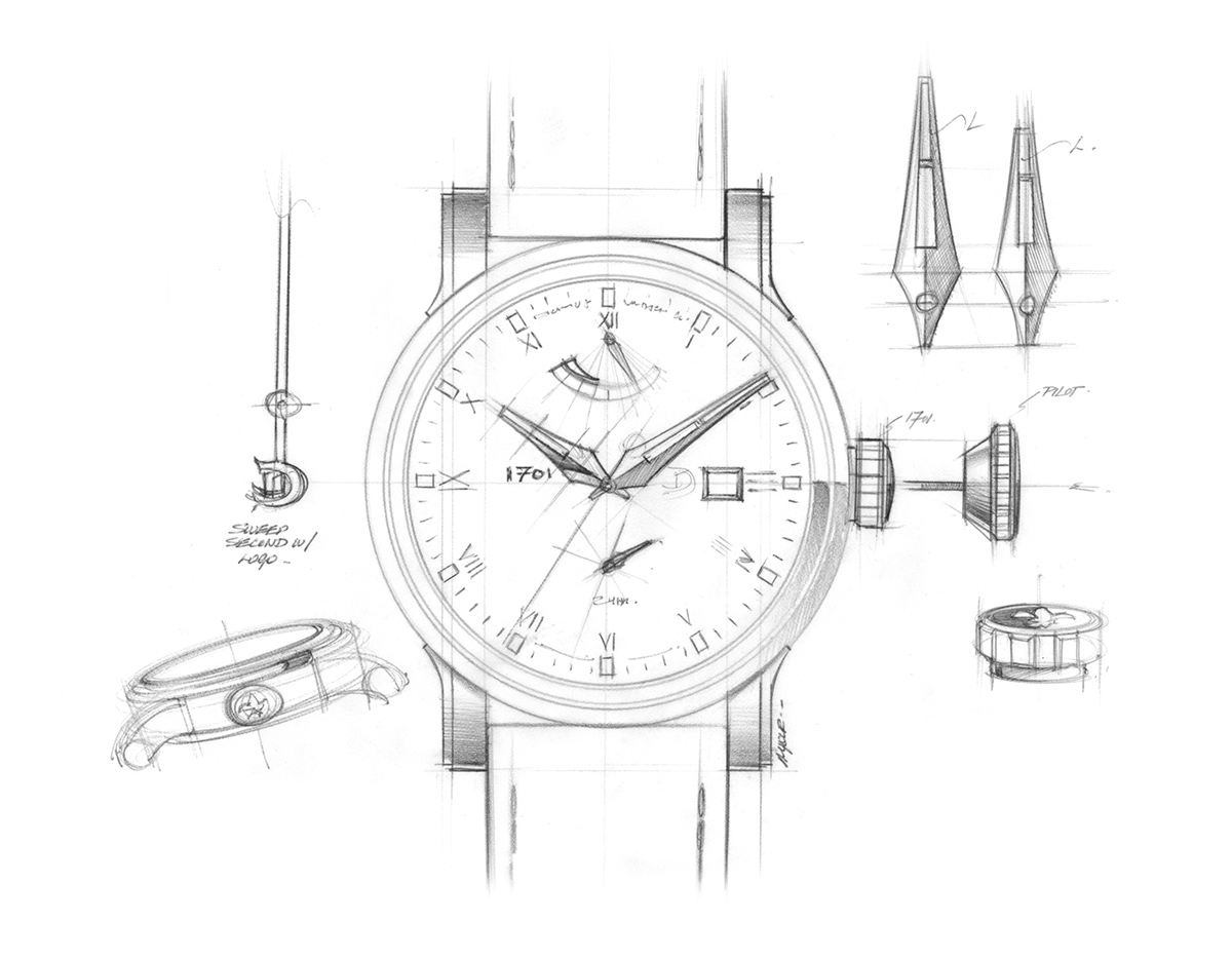 Drawn watch hand watch Of the sketch Hand 1701
