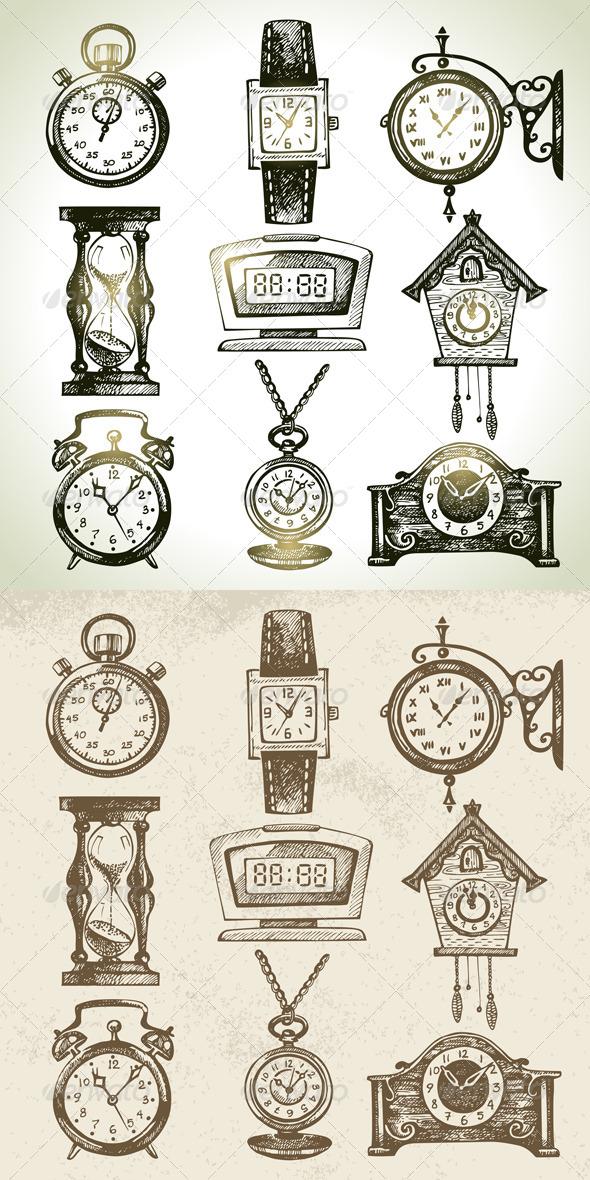 Drawn watch illustration Set Watch Set Digital Clock