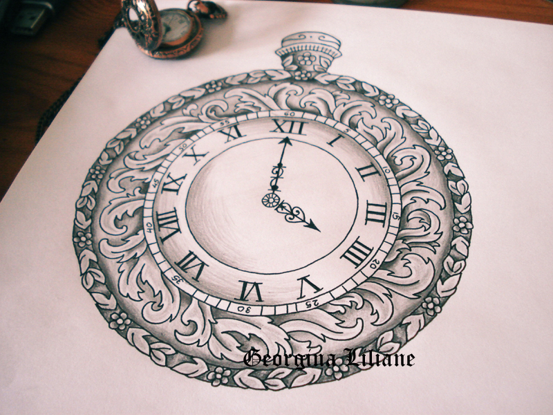 Drawn compass pocket watch drawing Pocket Pocket the watch middle