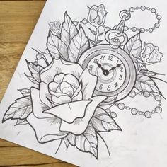 Drawn watch outline On Tattoo and black Vegas