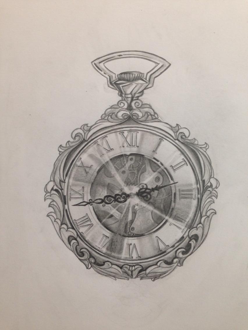 Drawn watch pocket watch Drawing way from > watch