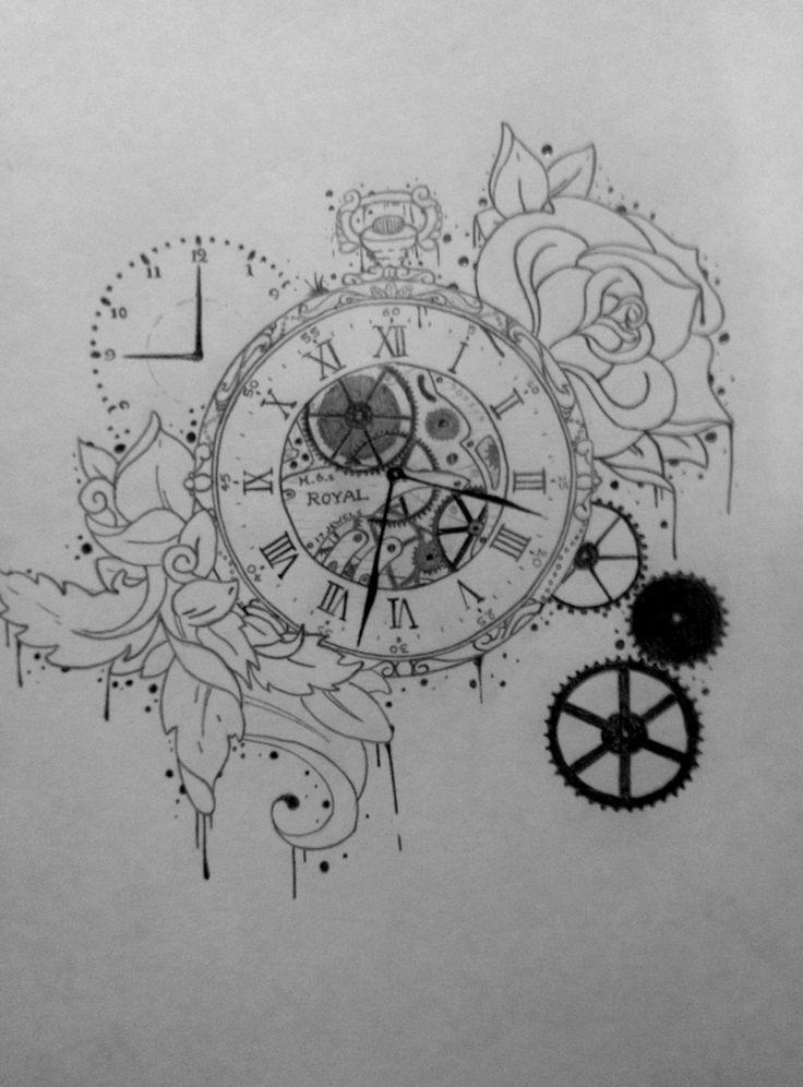 Drawn compass pocket watch drawing Clockwork ideas Best on 25+