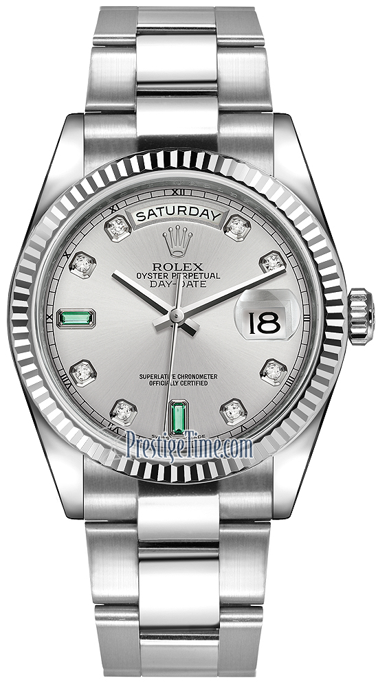 Drawn watch rhodium Date Oyster Rhodium Rolex 36mm