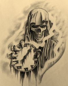 Drawn watch skull Grimm holding with get this