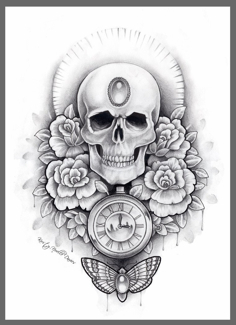 Drawn watch skull A3 of liner and fine