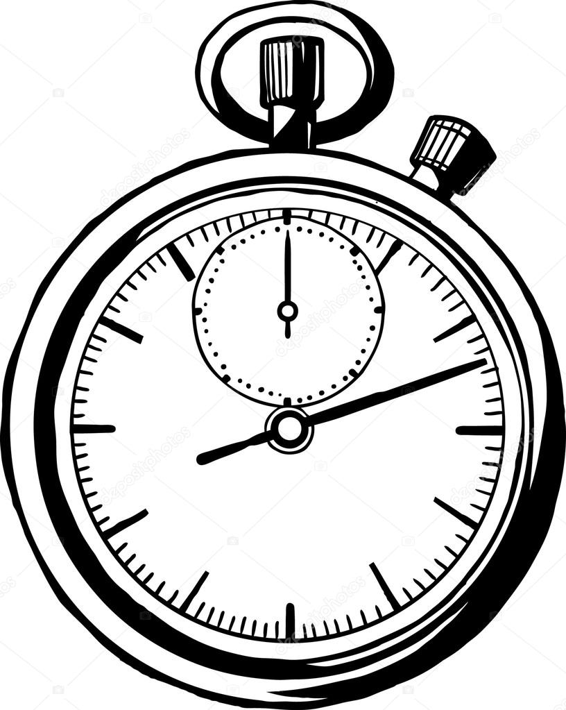 Drawn watch stopwatch Dial open second the on
