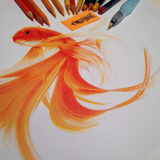 Drawn ballerina derwent inktense  pencils Prismacolor & &