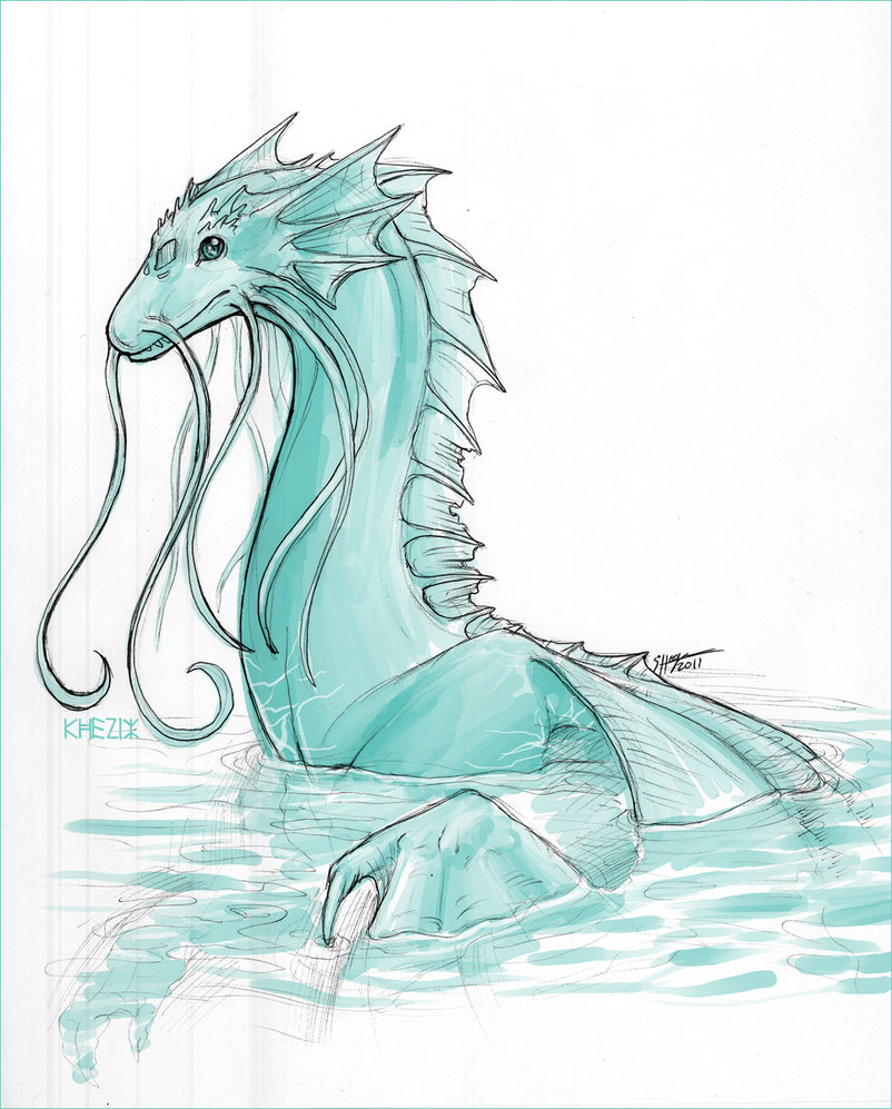 Drawn water dragon Sketch Sketch The Dragon Water
