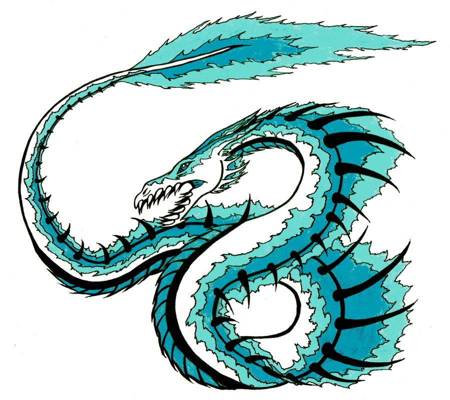 Drawn water dragon The Dragon Linear13 DeviantArt on