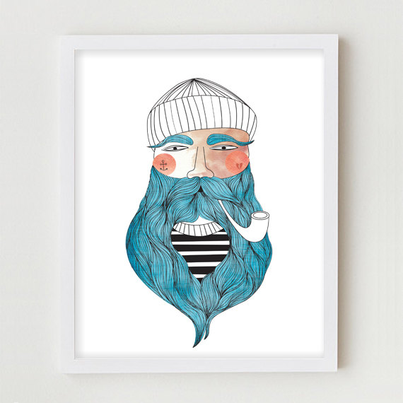 Drawn beard sailor Art Illustration print Drawing Sailor