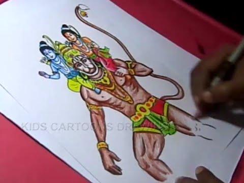 Drawn water droplets bhagwan Step Drawing Hanuman How Draw