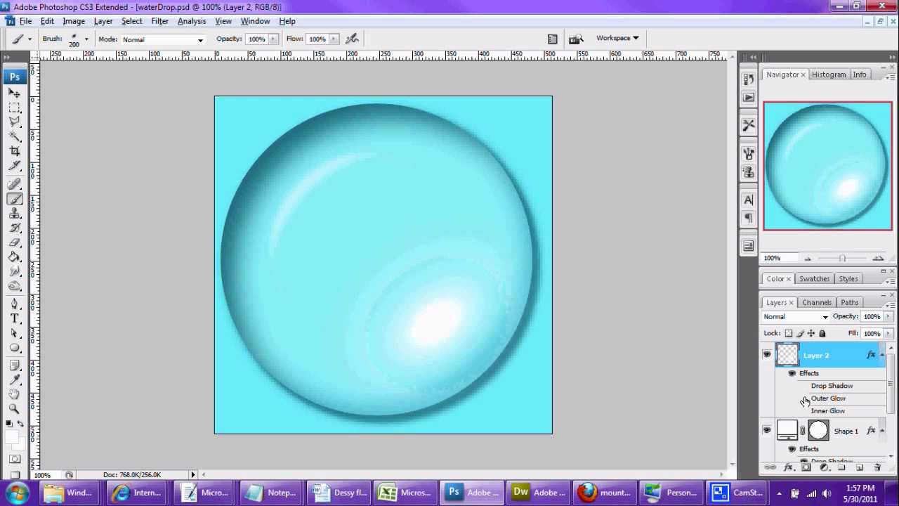 Drawn water droplets bubble Photoshop YouTube Tutorial in Make