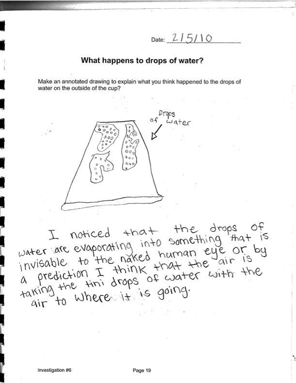 Drawn water droplets cup Inquiry Sample 5 Grade Curriculum