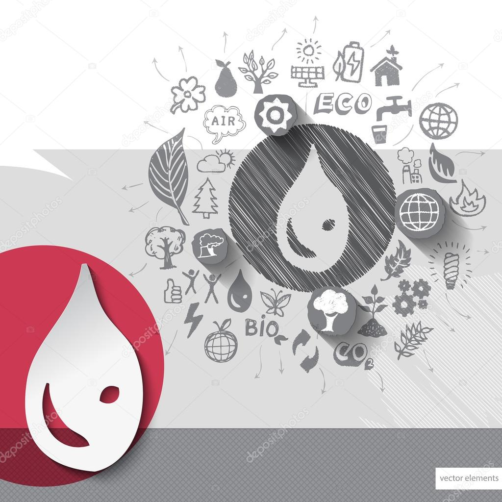 Drawn water droplets cup Vector icons drawn and water