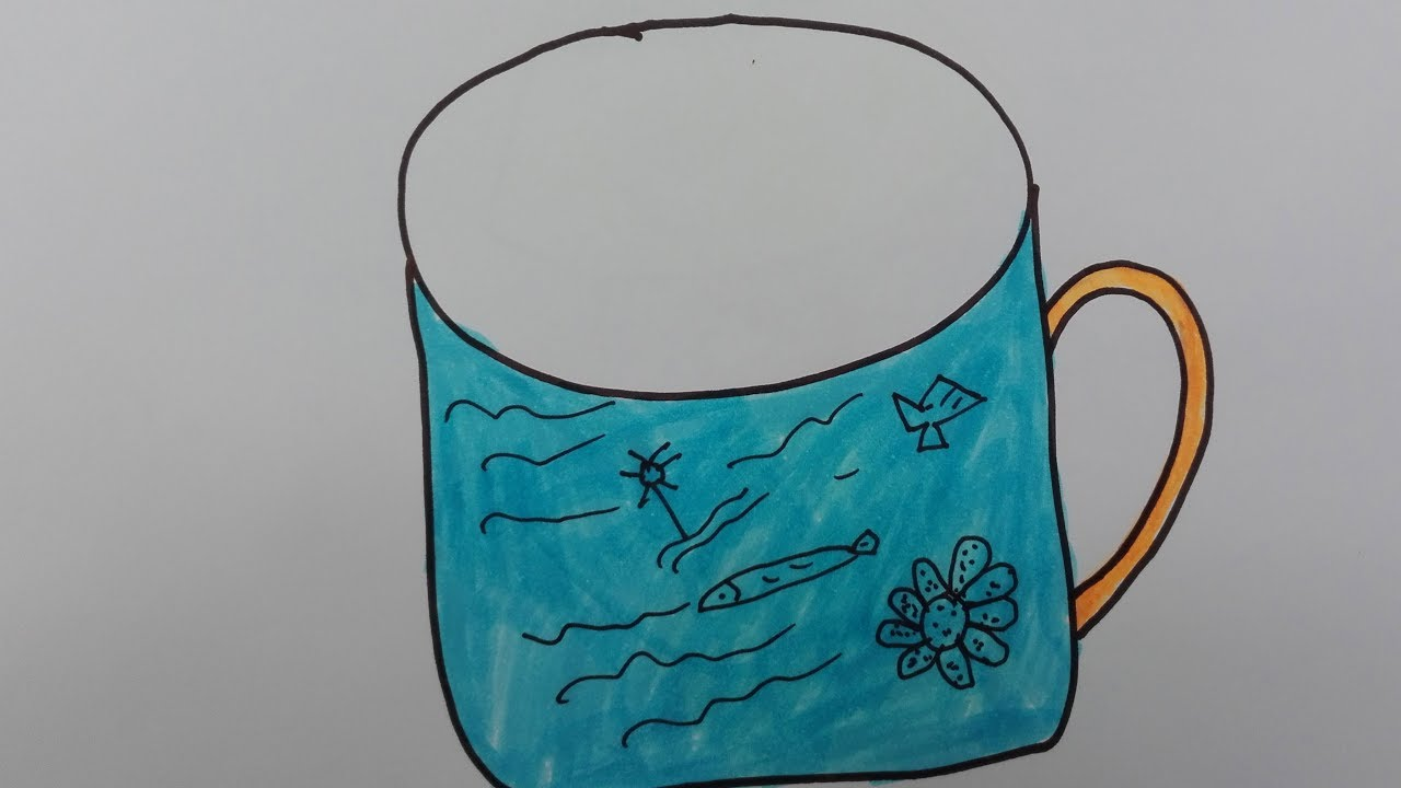 Drawn water droplets cup Step a draw step How