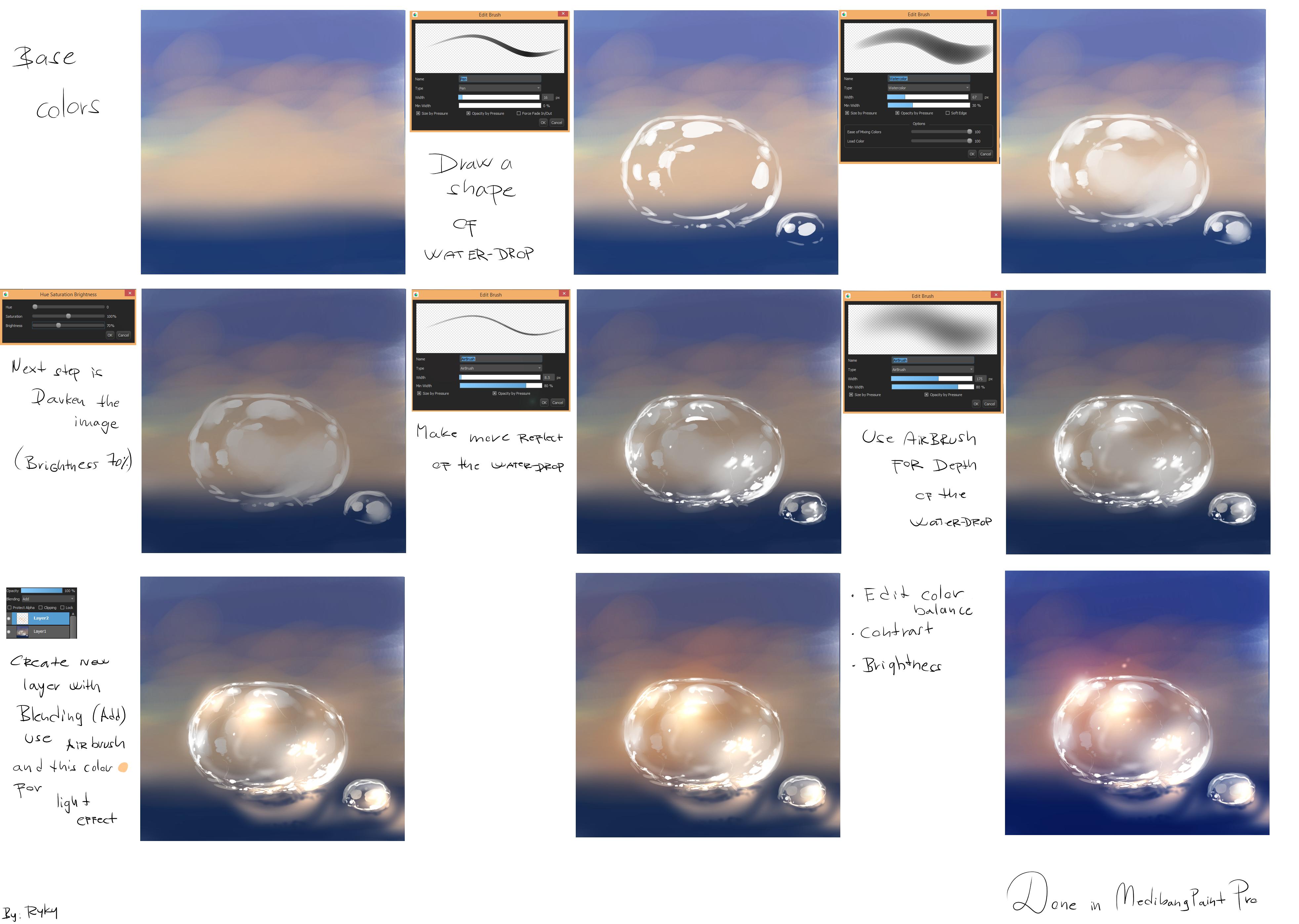 Drawn water droplets easy Tutorials Ryky's and MediBang See