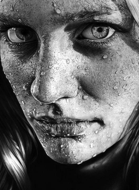 Drawn water droplets face drawing Free wet pencil when skin