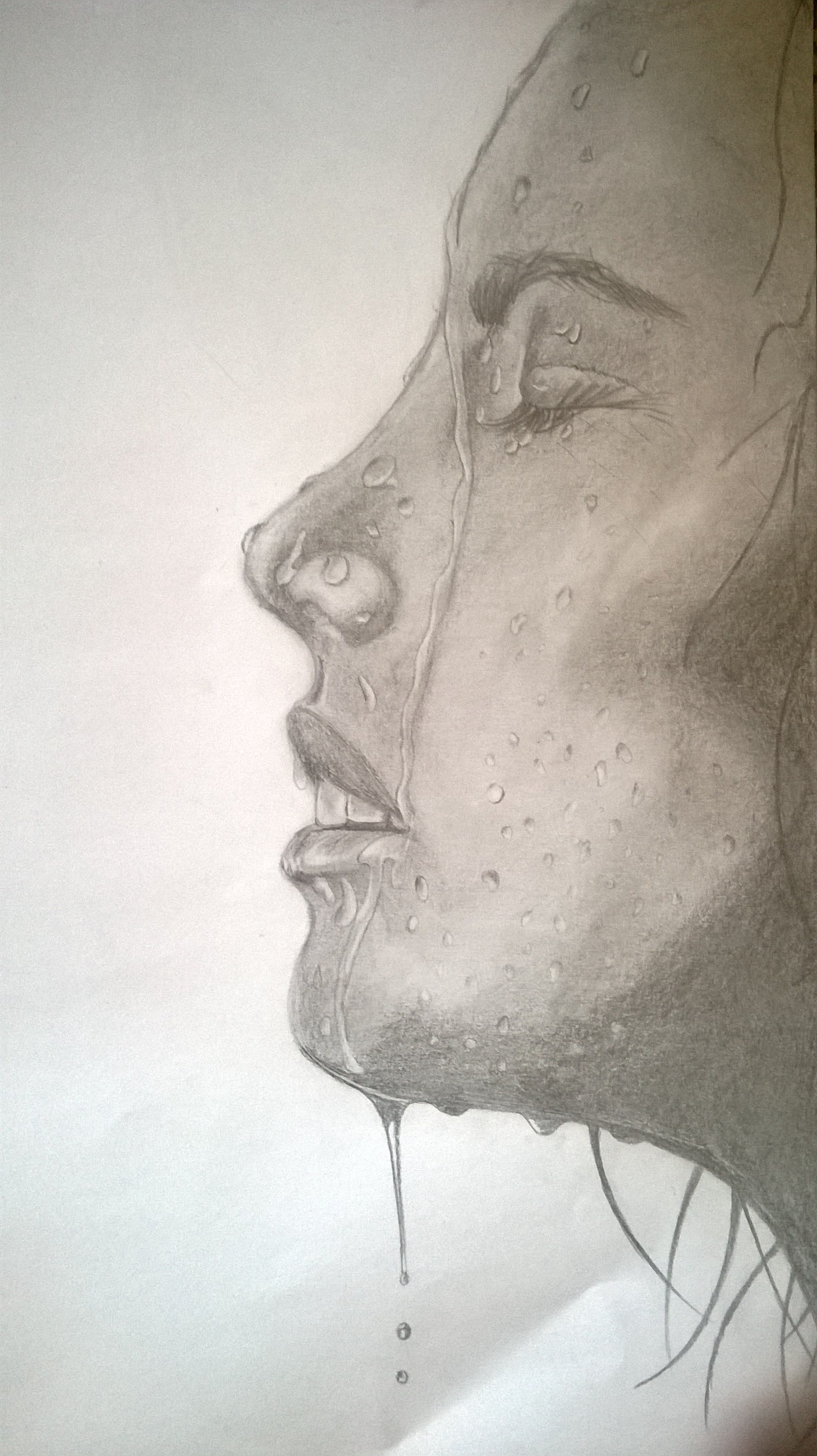 Drawn water droplets face drawing On woman's – drawing face
