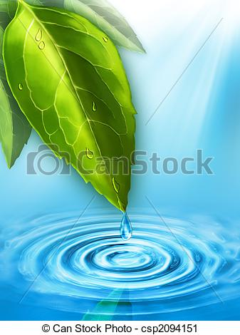 Drawn water droplets leave Pond a Clipart a into