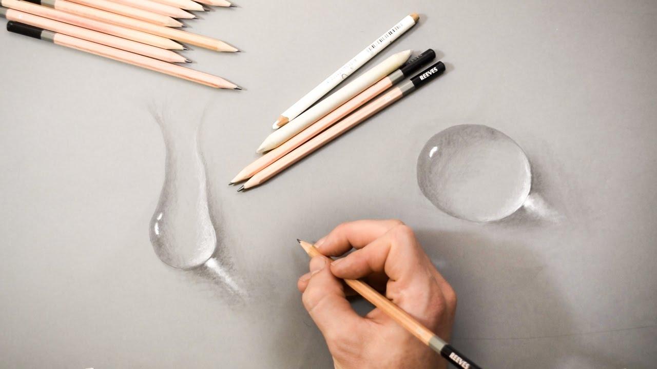 Drawn water droplets paper tutorial Drops How Drops Pencil Paper