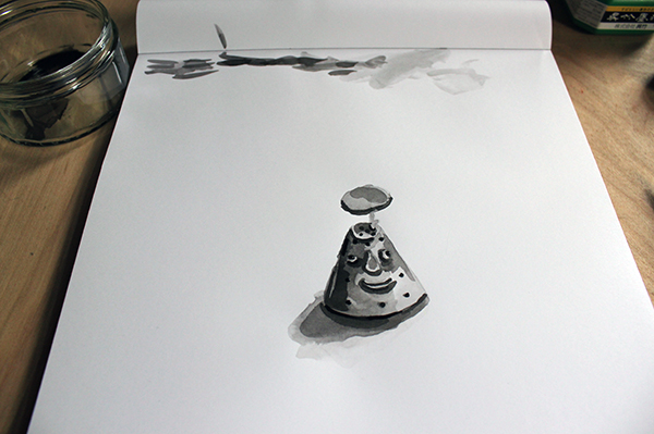 Drawn water droplets pen and ink Ink with ink Completed Tips