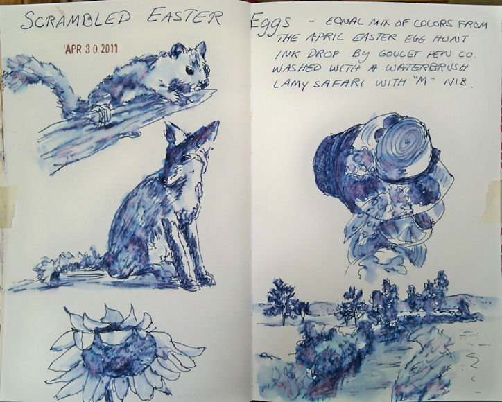 Drawn water droplets pen and ink Fountain Pen: Goulet  Ink