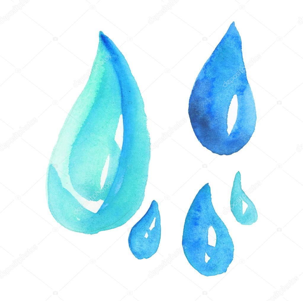 Drawn water droplets rain Stock drop paint drawn water