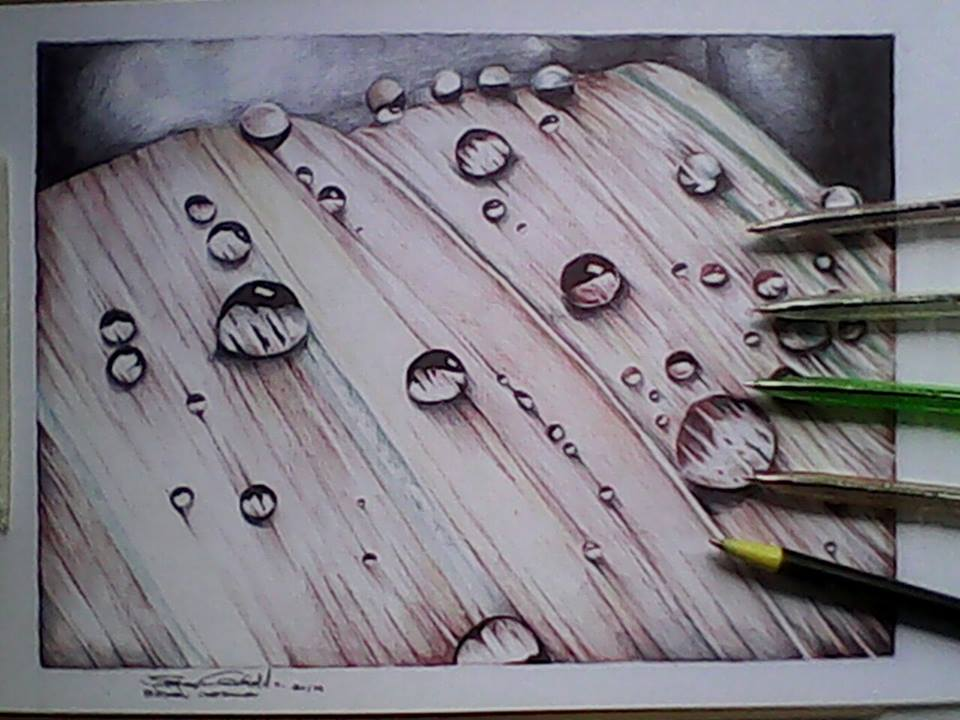 Drawn water droplets real water DeviantArt drawing on bryanGatdula drops