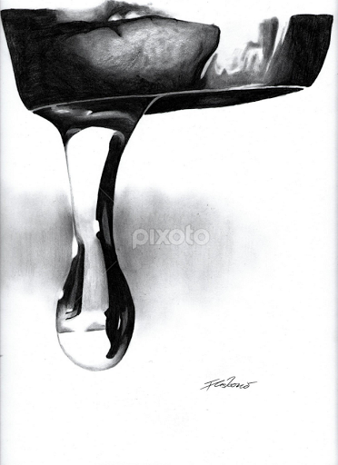 Drawn water droplets real water Black Drawing by pencil water