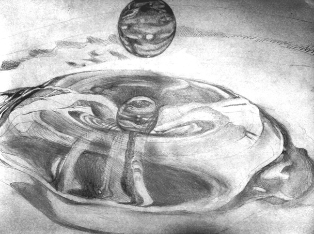 Drawn waterdrop splashing drawing Selling of a pencil splashing