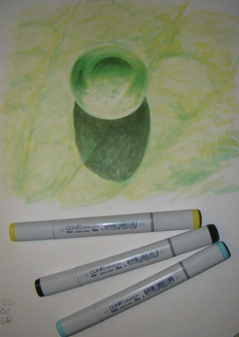 Drawn water droplets still Copic drawing water Copic green