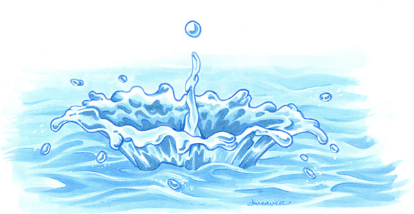 Drawn water droplets wave splash With Copic  Markers a