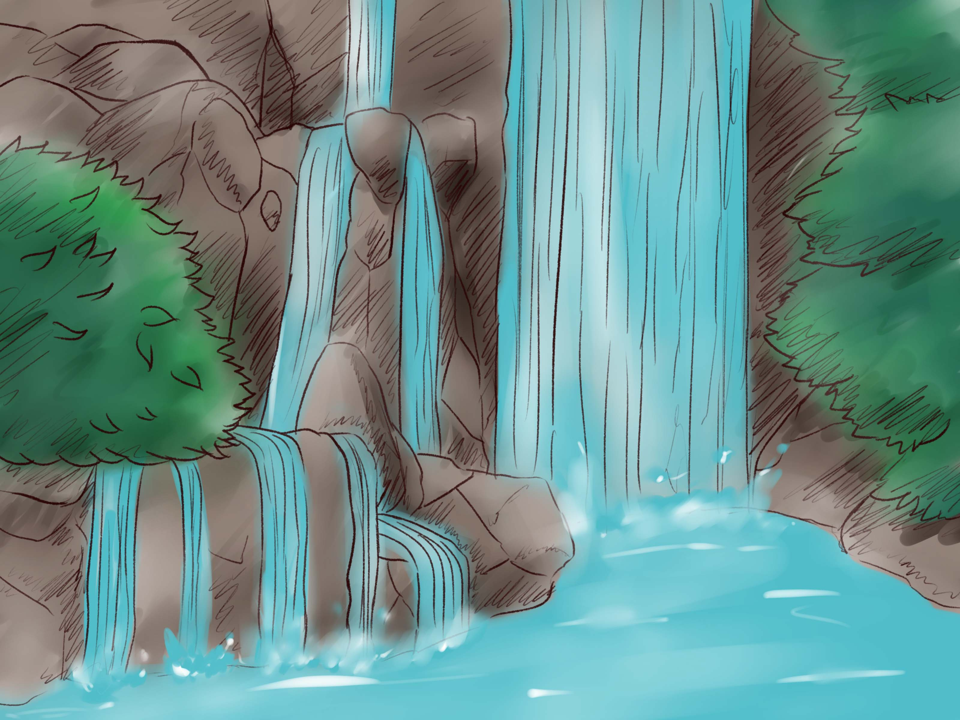 Drawn waterfall To Pictures) a Draw Waterfall