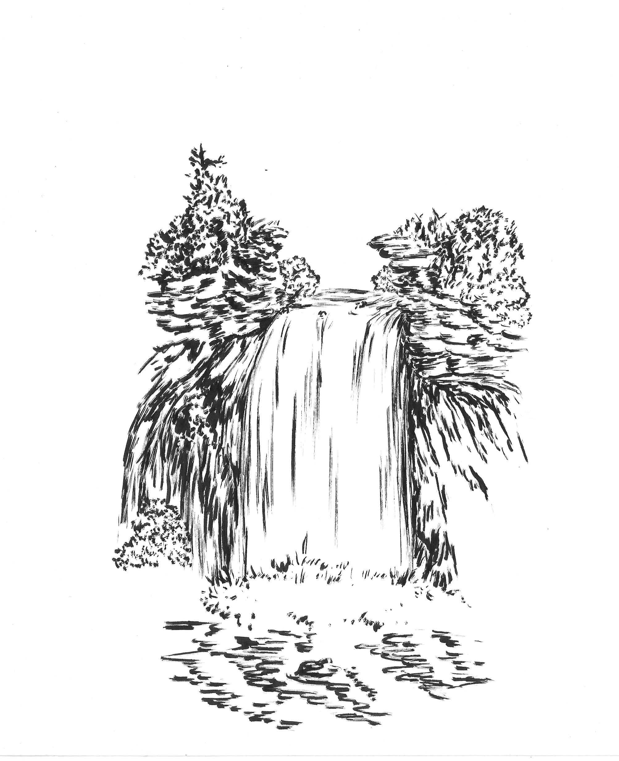 Drawn waterfall Tones waterfall paper Brush –