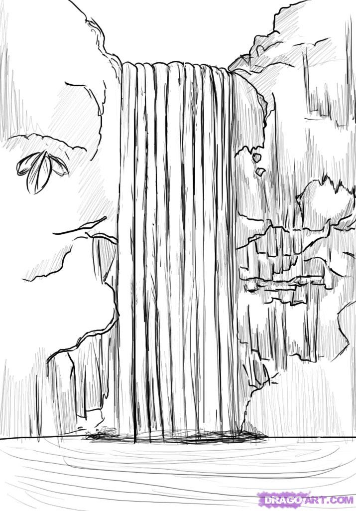 Drawn rainforest easy Waterfall to Draw step Step