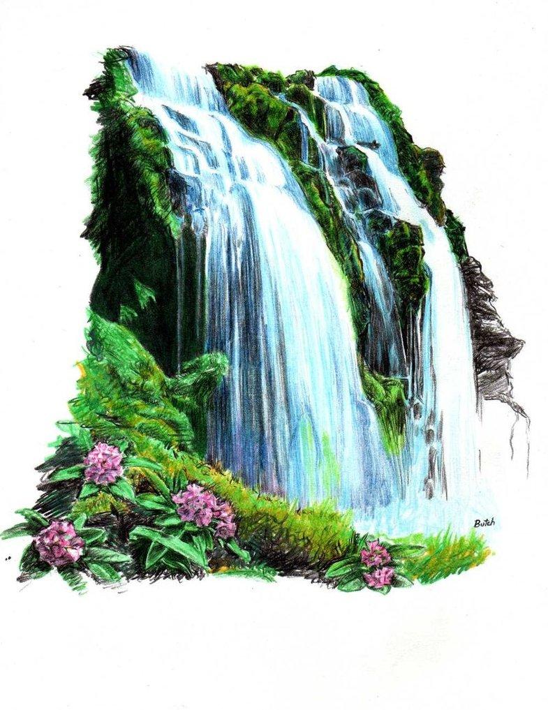 Drawn waterfall By thorr Tropical thorr Waterfall