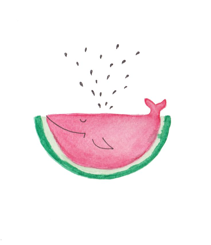 Drawn background watermelon Illustration fish Pinterest drawing watercolors