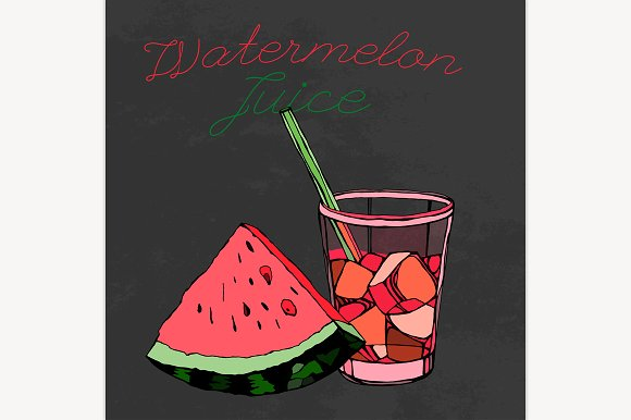 Drawn watermelon been drinking Illustrations Drawn Juice Image Creative