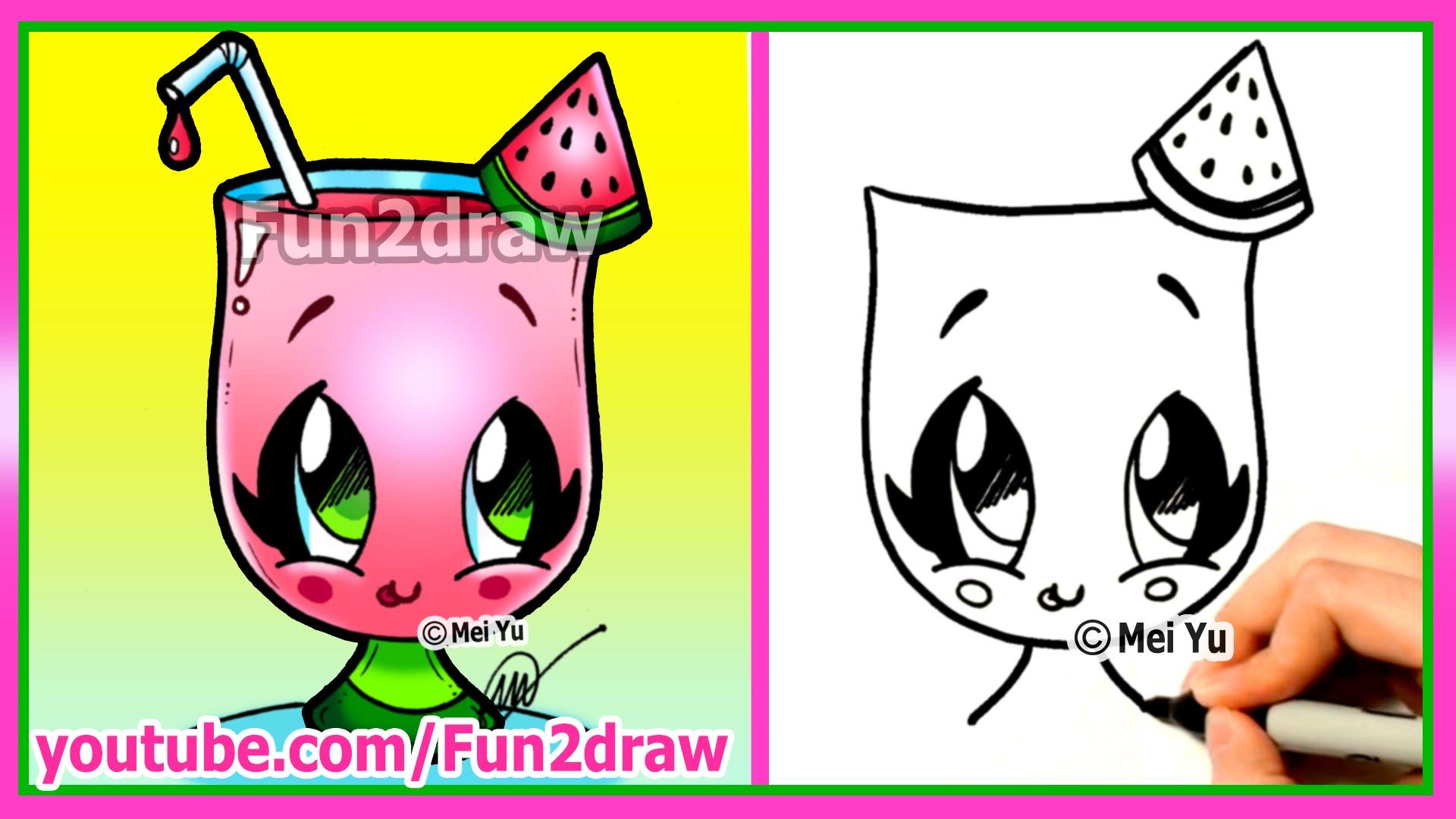 Drawn strawberry fun2draw Watermelon Easy Cartoons Cartoons Cute