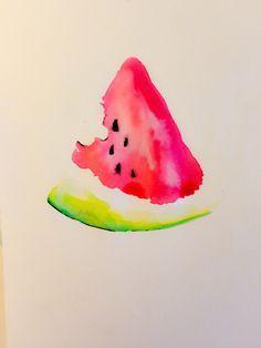 Drawn watermelon Watermelon #watercolor #illustration Watermelon ideas